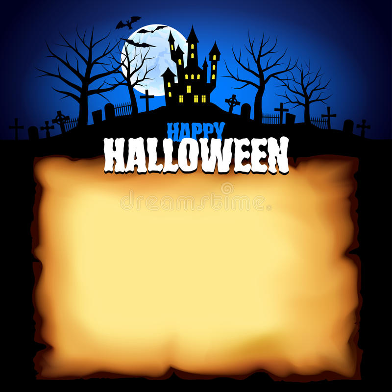Castle behind sheet of paper Halloween background royalty free illustration