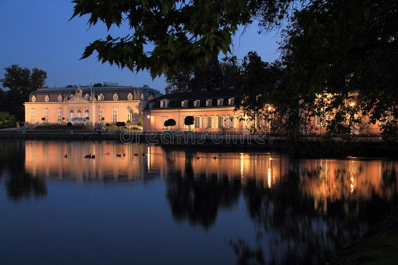Castle Benrath in Dusseldorf in evening mood. Historical Castle Benrath in Dusseldorf in evening mood stock photos