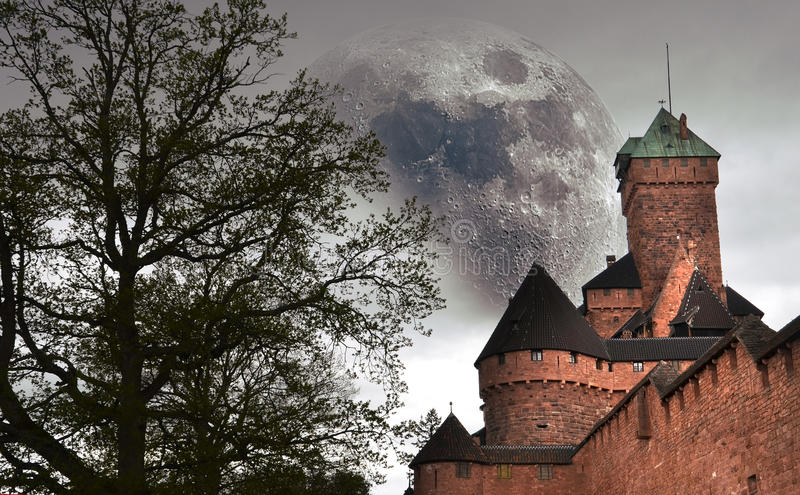 Castle and big moon stock photo