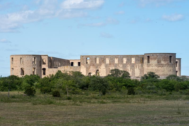 The castle of Borgholm located on Öland. The castle ruin of Borgholm located on Öland an island outside the Swedish east coast stock photos