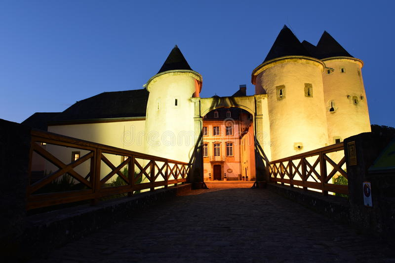 Castle in Bourglinster, Luxembourg stock images