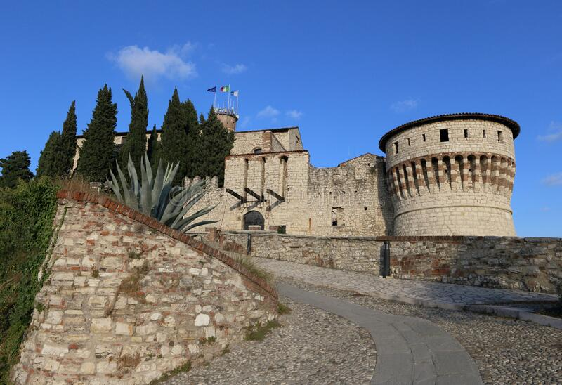 Castle of Brescia in Italy royalty free stock images