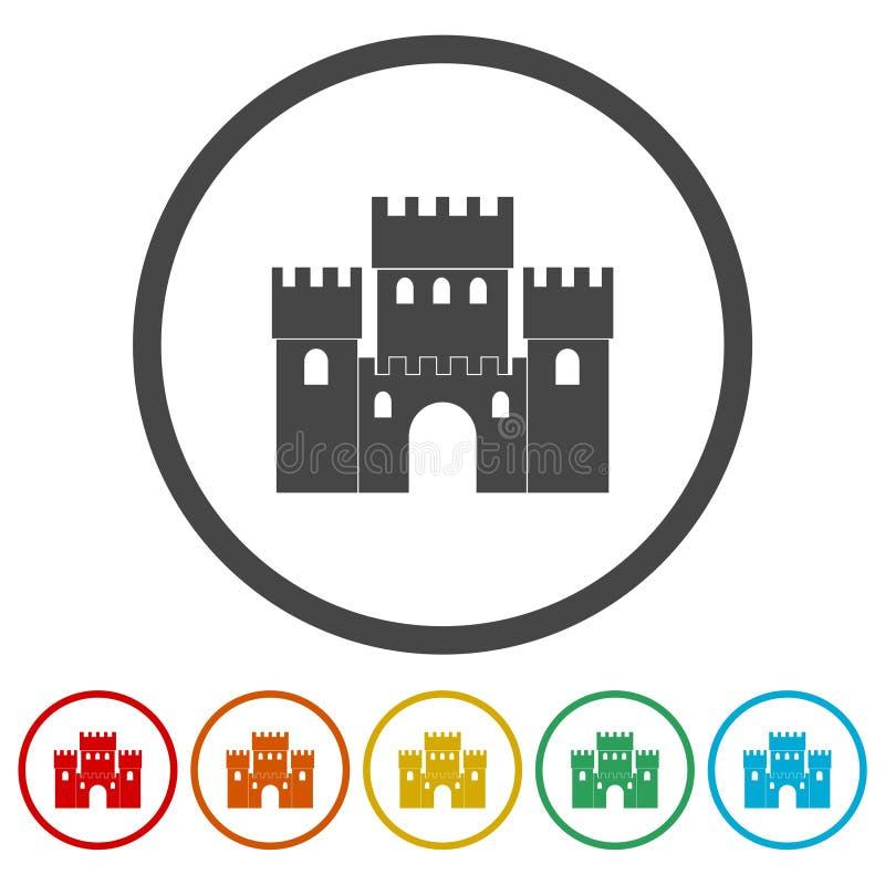 Castle Building Architecture Company Logo Vector Icon Set stock de ilustración