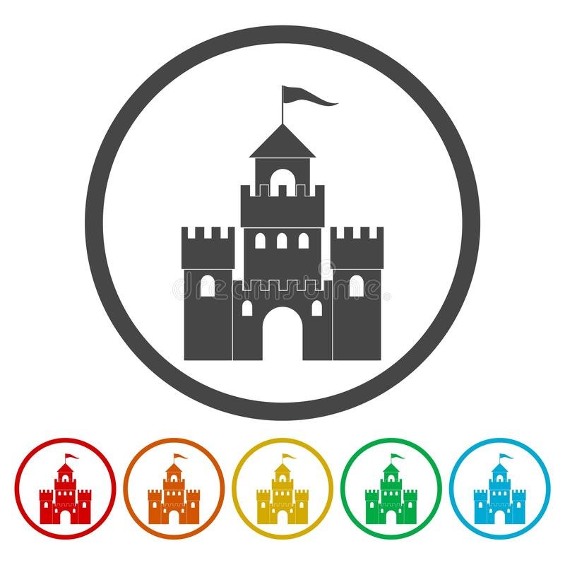 Castle Building Architecture Company Logo Vector Icon Set stock de ilustración