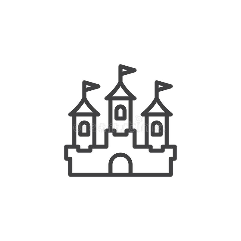 Castle building outline icon vector illustration