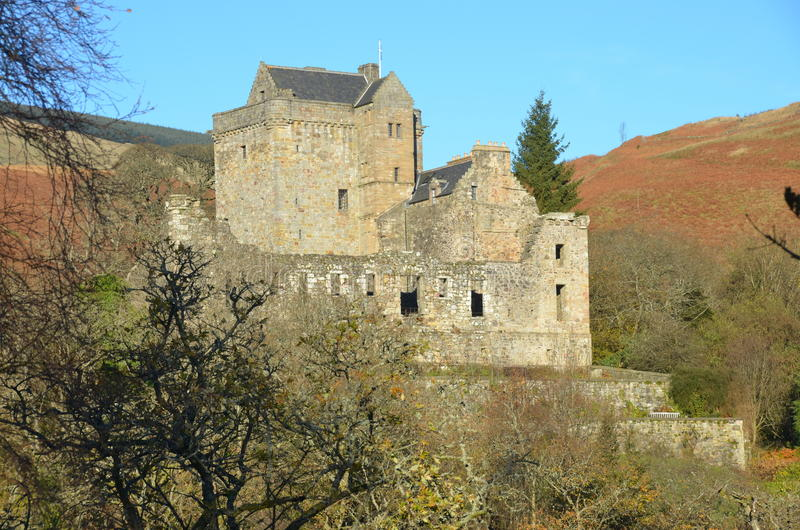 Castle Campbell. An exterior view of Castle Campbell which is nestled among the Ochil hills royalty free stock image