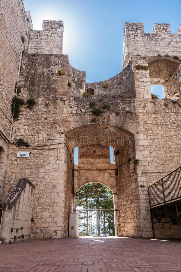 Castle of Campobasso, drawbridge stock images