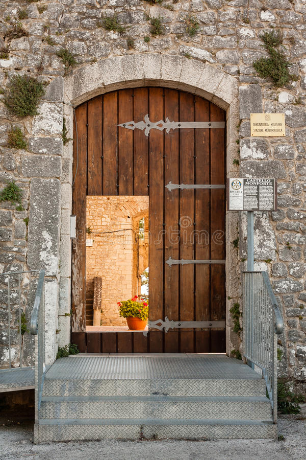 Castle of Campobasso, entrance stock photo