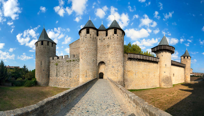 Castle of Carcassonne. In France stock photo