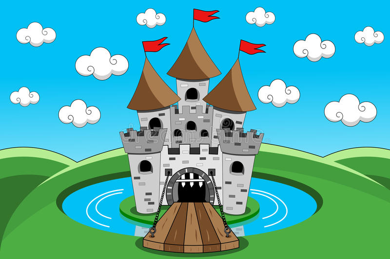 Castle Cartoon Lift Bridge Moat Gate Outdoor. Cartoon castle with lift bridge down open gate and moat Eps available stock illustration