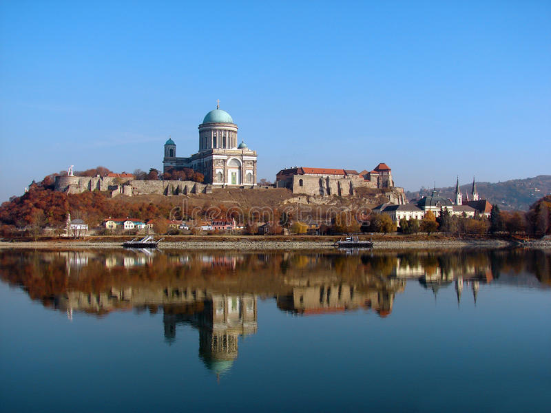 Castle and Cathedral in Esztergom. Town on Danube river Hungary royalty free stock images