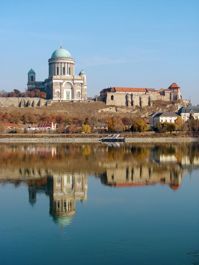Castle and Cathedral in Esztergom. Town on Danube river Hungary royalty free stock image