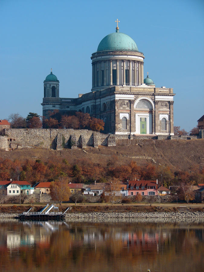 Castle and Cathedral in Esztergom. Town on Danube river Hungary stock image