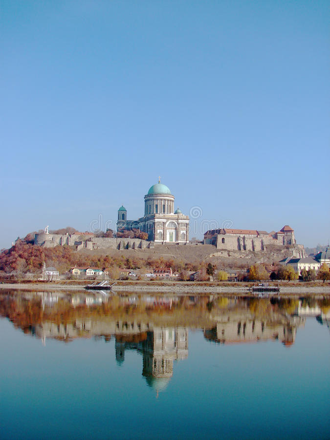 Castle and Cathedral in Esztergom. Town on Danube river Hungary stock photography