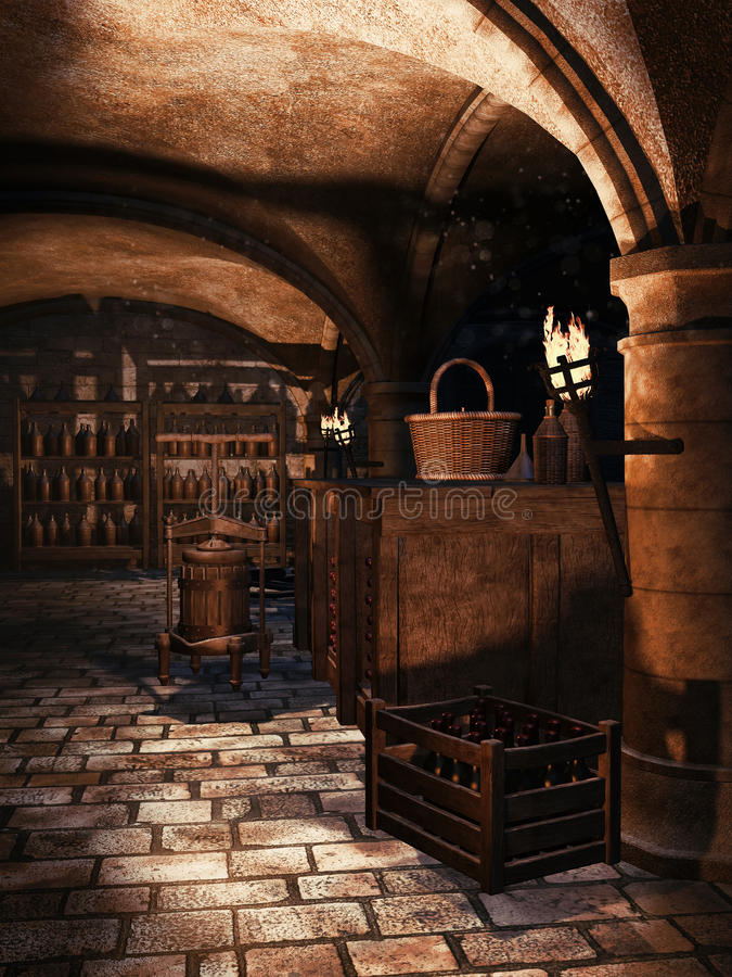 Castle cellar with wine. Old castle cellar with torches and wine bottles stock illustration