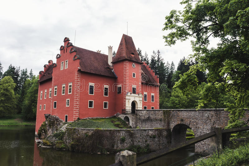 The castle of cervena Lhota in may. royalty free stock photo