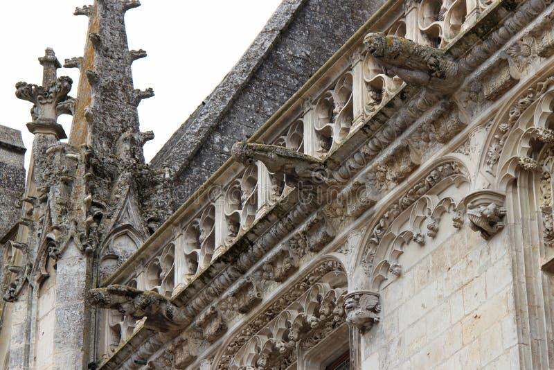 The castle of Châteaudun - France. Gargoyles decorate the facade of the medieval castle of Châteaudun (France). Des gargouilles décorent la façade du stock images
