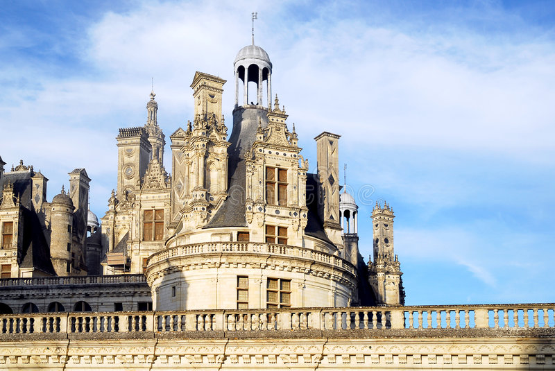 Castle of Chambord in France. Detail castle of chambord in France on the sky background stock photos