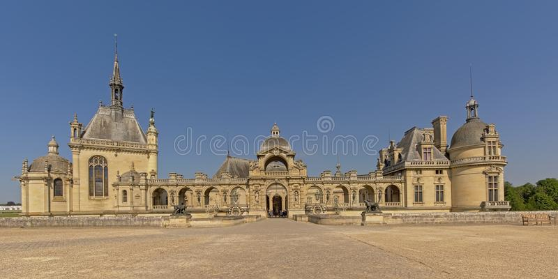 Castle of chantilly, france, wide angle view stock image