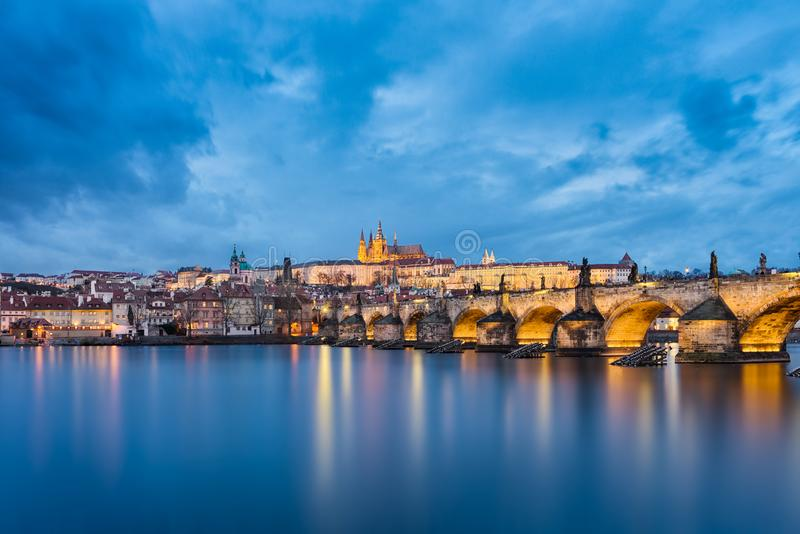 Castle and Charles Bridge in Prague, Czech Republic stock photo