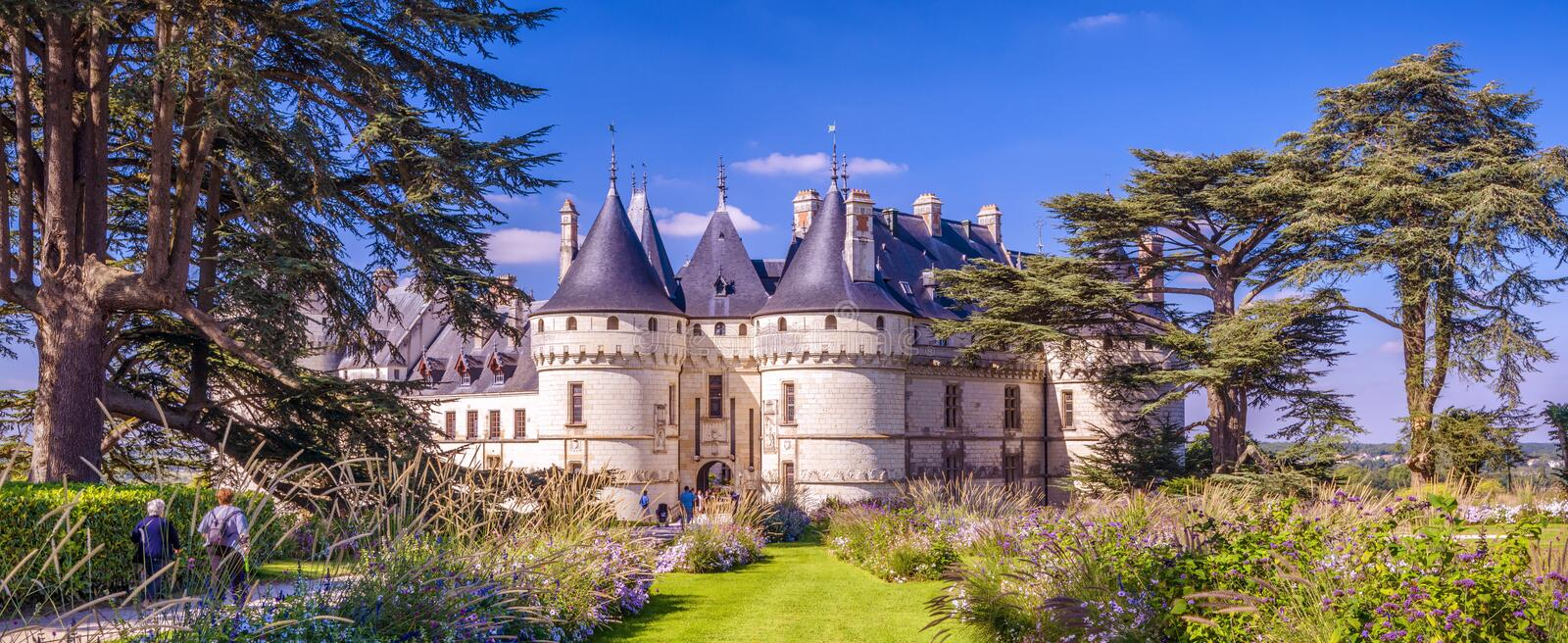 Castle or chateau de Chaumont-sur-Loire, France. This old castle is a landmark of Loire Valley. Panoramic scenic view of the French castle in summer stock photos