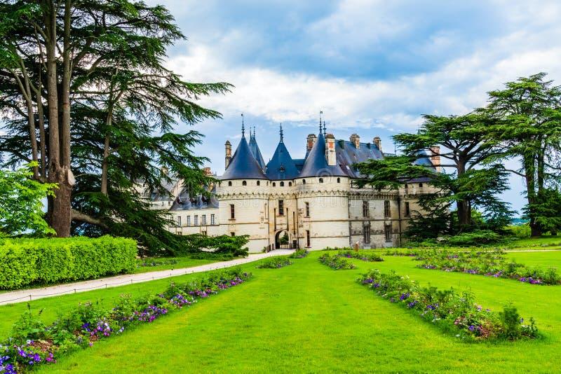 Castle of Chaumont sur Loire, Loire Valley area, France. Loire Valley, France - May 29, 2018: Castle of Chaumont sur Loire on the Loire Valley in the district of royalty free stock photo