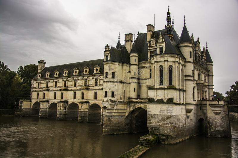 Castle of Chennonceau in Loire Valley stock photos