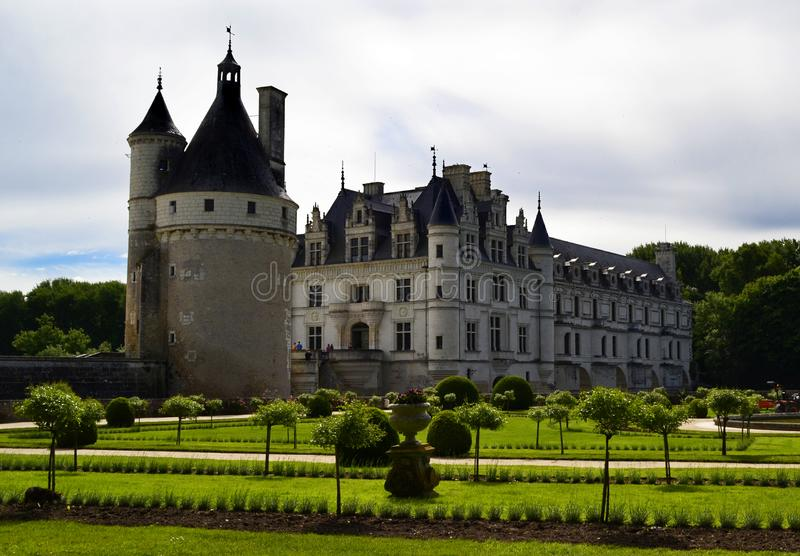 Castle of Chenonceau in the Loire Valley, France stock images
