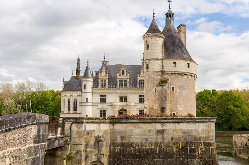 Castle Chenonceau entry, Loire Valley, France royalty free stock photography