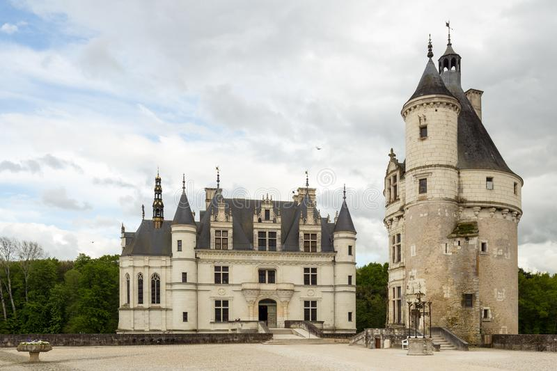 Castle Chenonceau with foreplace and entry, Loire Valley, France royalty free illustration