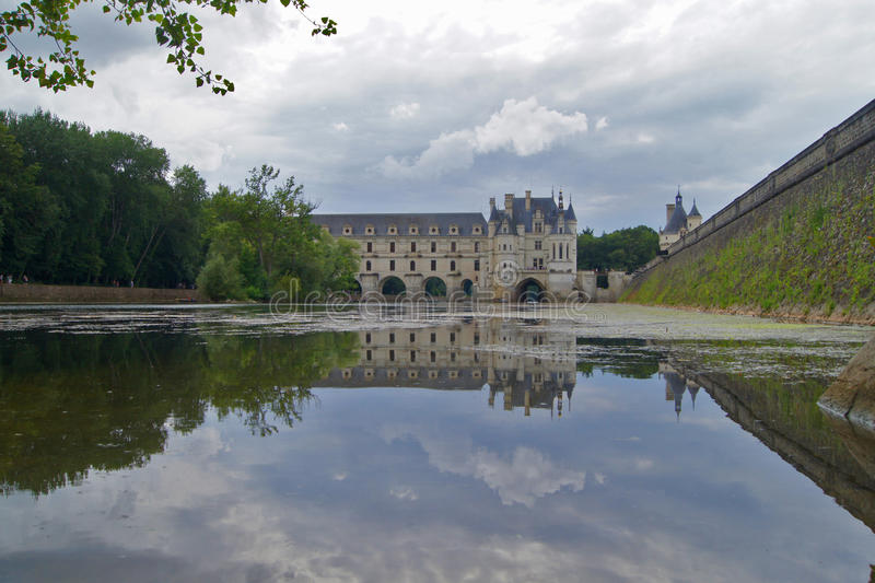 Castle Chenonceaux, αντανάκλαση, κοιλάδα της Loire, Γαλλία στοκ εικόνα με δικαίωμα ελεύθερης χρήσης