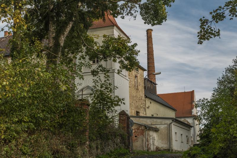 Castle with chimney in autumn evening in Besiny village in national park Sumava. Castle with chimney in autumn evening in Besiny village near national park stock photo