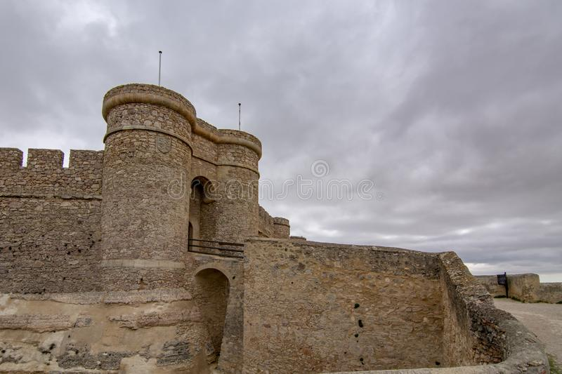 Castle of Chinchilla de Montearagon, province of Albacete, Spain. Chinchilla de Montearagon, Albacete, Spain; February 2017: Gate of castle of Chinchilla de stock images