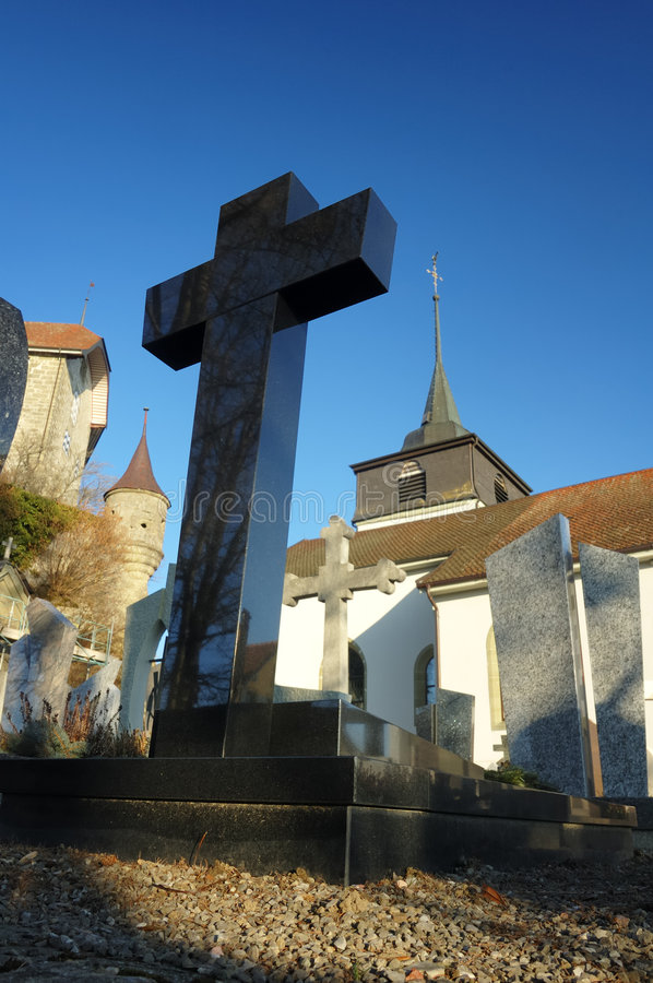 Castle, church and grave stock images