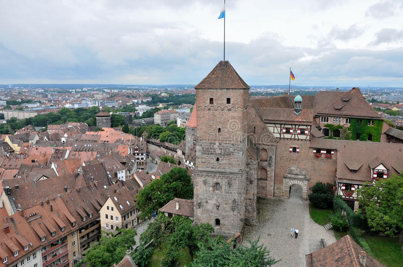 Castle and cityscape , nurnberg. Aerial view of castle and city center stock photos