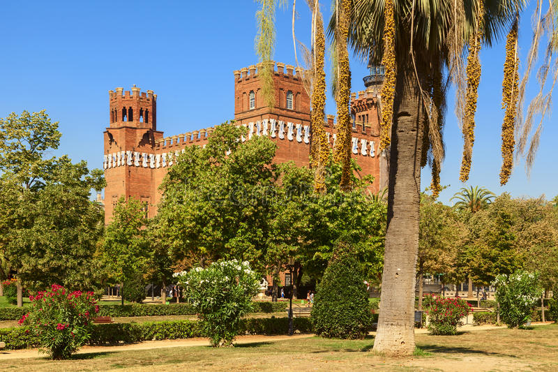 Castle in ciutadella park in the city of barcelona royalty free stock images