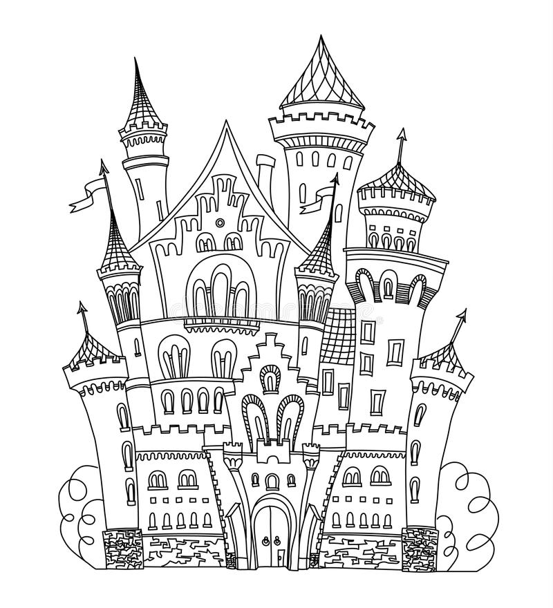 Castle coloring book for adults and children vector illustration. Anti-stress adult. Black white lines. Lace pattern. Castle coloring book for adults and stock illustration