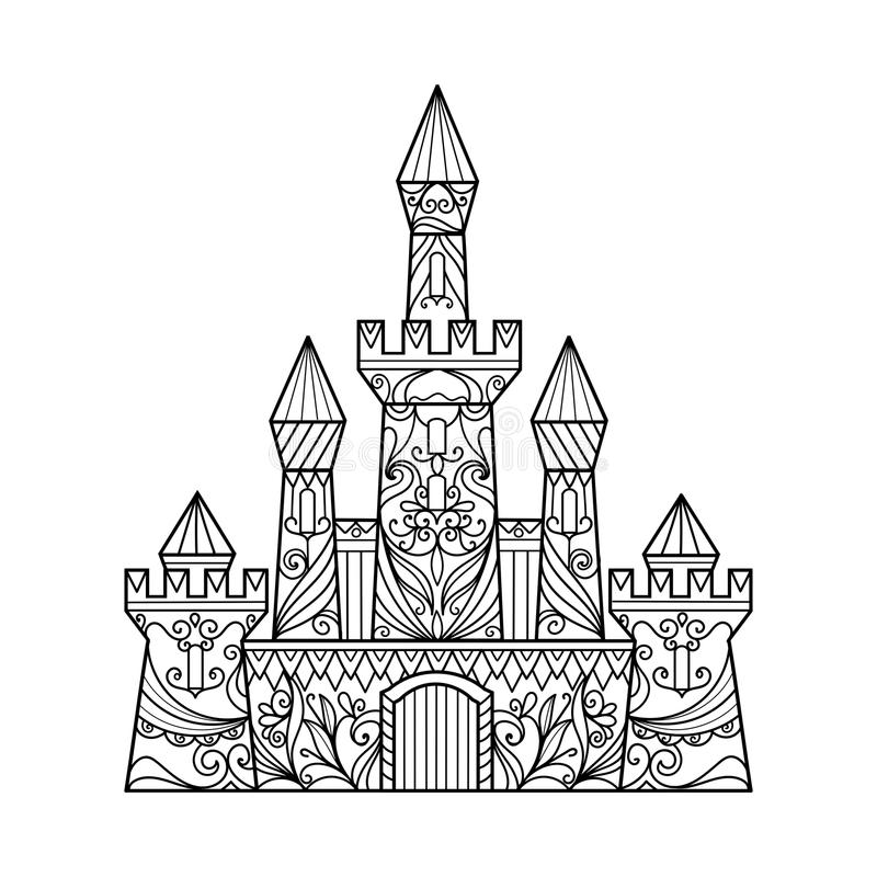 Castle coloring book for adults vector vector illustration
