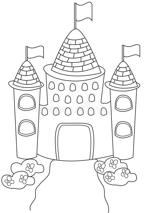 Castle coloring page stock illustration. Illustration of colouring ...