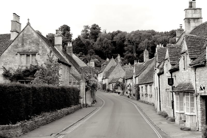 Castle Combe in B&W - Pretties village in UK royalty free stock photography