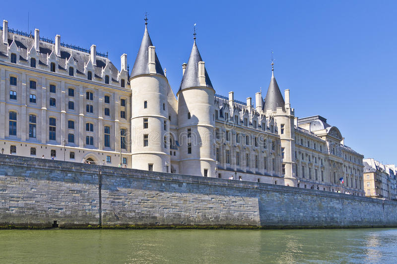 Castle Conciergerie - former royal palace, Paris. Castle Conciergerie is a former royal palace and prison in Paris, located on the west of the Cite Island. Today royalty free stock photos