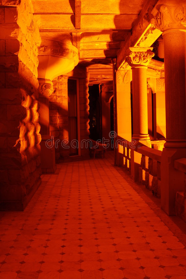 Castle corridor at night. Night scene of the corridor of historic craigdarroch castle (built in 1890) in downtown victoria, british columbia, canada royalty free stock image