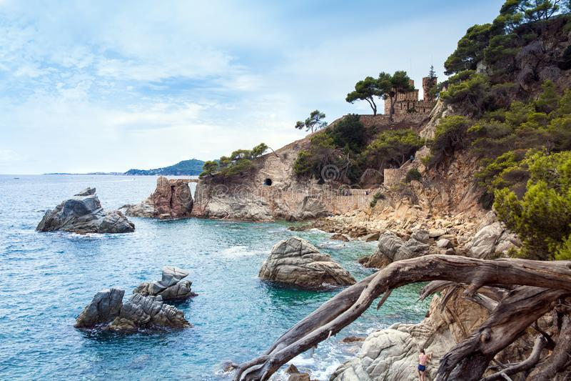 Castle on the Costa Brava in Lloret de Mar, Spain. View of the Balearic Sea and the rocky coast. royalty free stock photography
