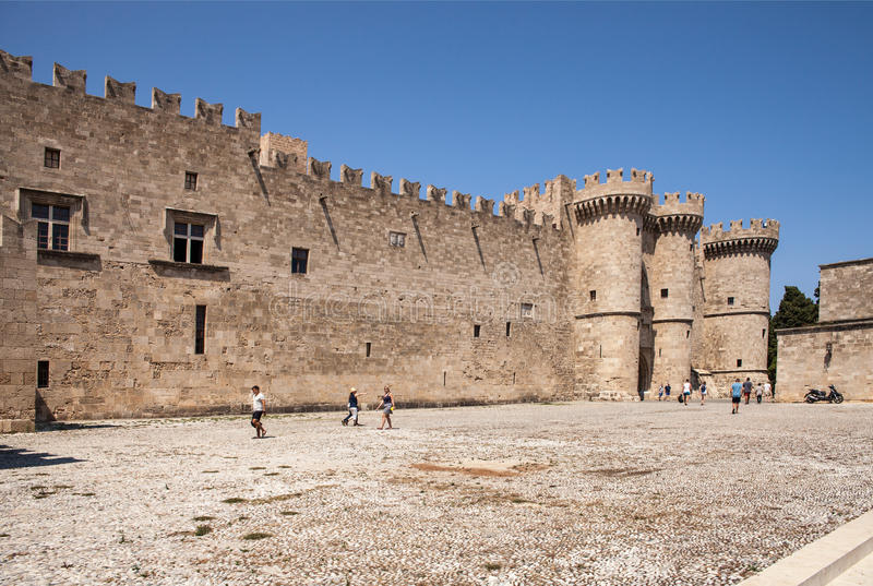 Castle courtyard in front of the main entrance. stock photography