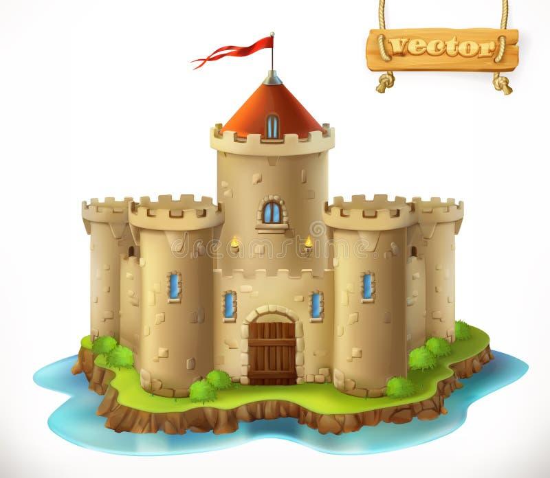Castle, 3d vector icon stock illustration