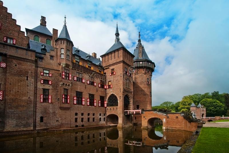 Castle De Haar in the Netherlands in the summer near the city of Utrecht. The largest medieval castle of De Haar in the Netherlands in the summer near the city royalty free stock photography