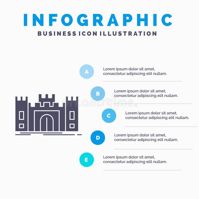 Castle Defense Fort Fortress Landmark Infographics Template