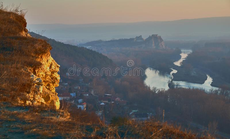 Castle Devin, river Morava and sunset royalty free stock photo