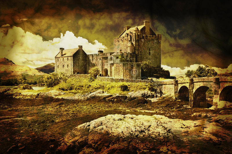 Castle in distressed vintage style royalty free stock images