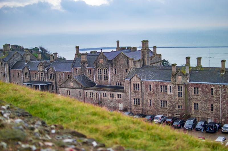 The castle of dover from the hills of kent and sea beyond it visible royalty free stock images